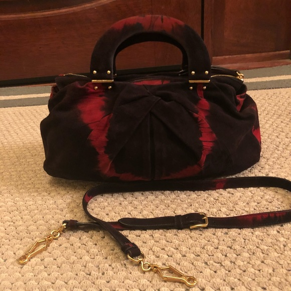 Miu Miu suede  tie dye  purse. Black and red. M 5a73ac7c5512fdc8731da8b5 6123561706d89